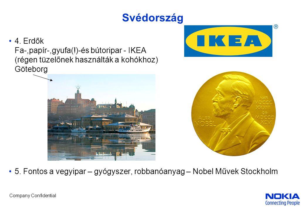 Company Confidential Svédország •4. Erdők Fa-,papír-,gyufa(!)-és bútoripar - IKEA (régen tüzelőnek használták a kohókhoz) Göteborg •5. Fontos a vegyip
