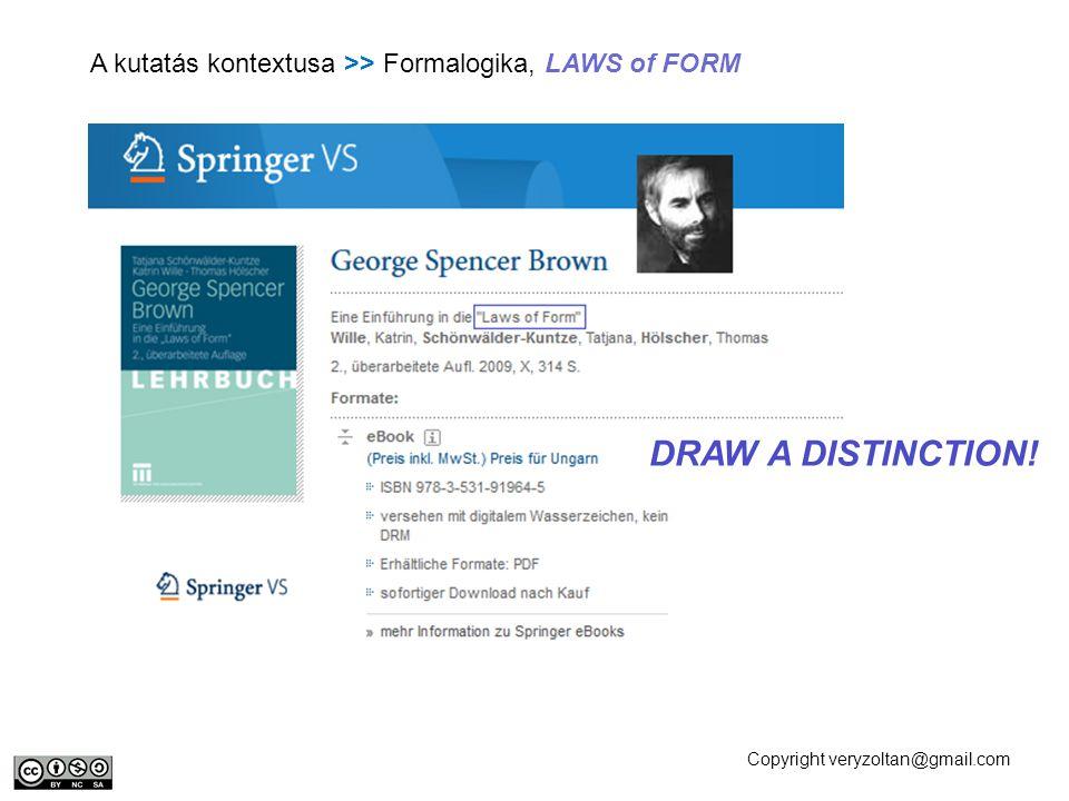 Copyright veryzoltan@gmail.com A kutatás kontextusa >> Formalogika, LAWS of FORM DRAW A DISTINCTION!