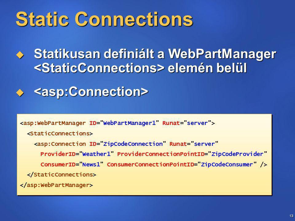 13 Static Connections  Statikusan definiált a WebPartManager elemén belül   <asp:Connection ID= ZipCodeConnection Runat= server ProviderID= Weather1 ProviderConnectionPointID= ZipCodeProvider ConsumerID= News1 ConsumerConnectionPointID= ZipCodeConsumer /> <asp:Connection ID= ZipCodeConnection Runat= server ProviderID= Weather1 ProviderConnectionPointID= ZipCodeProvider ConsumerID= News1 ConsumerConnectionPointID= ZipCodeConsumer />