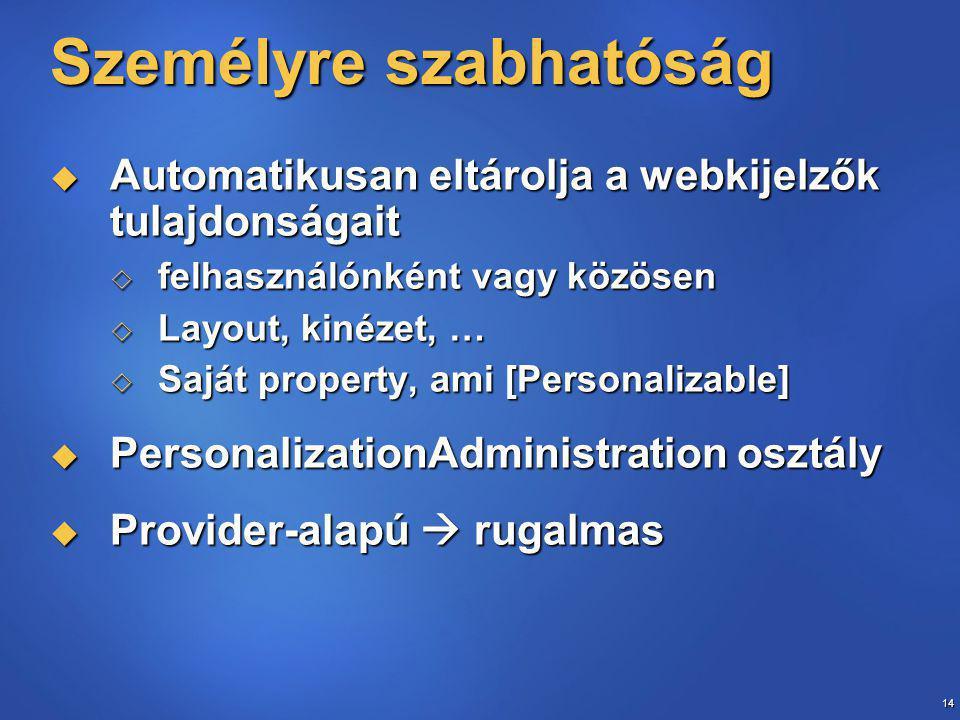 14 Személyre szabhatóság  Automatikusan eltárolja a webkijelzők tulajdonságait  felhasználónként vagy közösen  Layout, kinézet, …  Saját property, ami [Personalizable]  PersonalizationAdministration osztály  Provider-alapú  rugalmas
