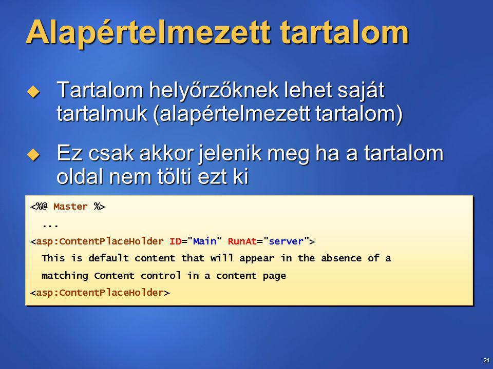 21 Alapértelmezett tartalom  Tartalom helyőrzőknek lehet saját tartalmuk (alapértelmezett tartalom)  Ez csak akkor jelenik meg ha a tartalom oldal nem tölti ezt ki...