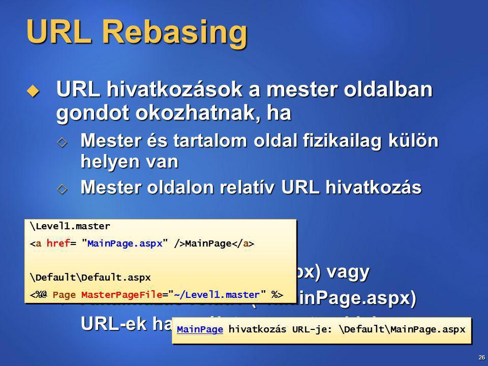 26 URL Rebasing  URL hivatkozások a mester oldalban gondot okozhatnak, ha  Mester és tartalom oldal fizikailag külön helyen van  Mester oldalon relatív URL hivatkozás  Megoldás:  Abszolút (/MainPage.aspx) vagy  Alkalmazás relatív (~/MainPage.aspx) URL-ek használata a mesteroldalon \Level1.master MainPage \Default\Default.aspx \Level1.master MainPage \Default\Default.aspx MainPage hivatkozás URL-je: \Default\MainPage.aspx