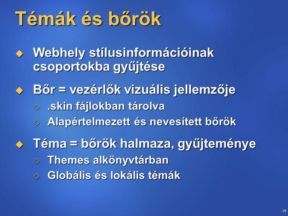 29 Témák és bőrök  Webhely stílusinformációinak csoportokba gyűjtése  Bőr = vezérlők vizuális jellemzője .skin fájlokban tárolva  Alapértelmezett és nevesített bőrök  Téma = bőrök halmaza, gyűjteménye  Themes alkönyvtárban  Globális és lokális témák