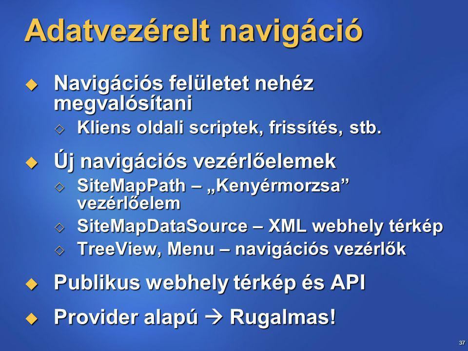37 Adatvezérelt navigáció  Navigációs felületet nehéz megvalósítani  Kliens oldali scriptek, frissítés, stb.