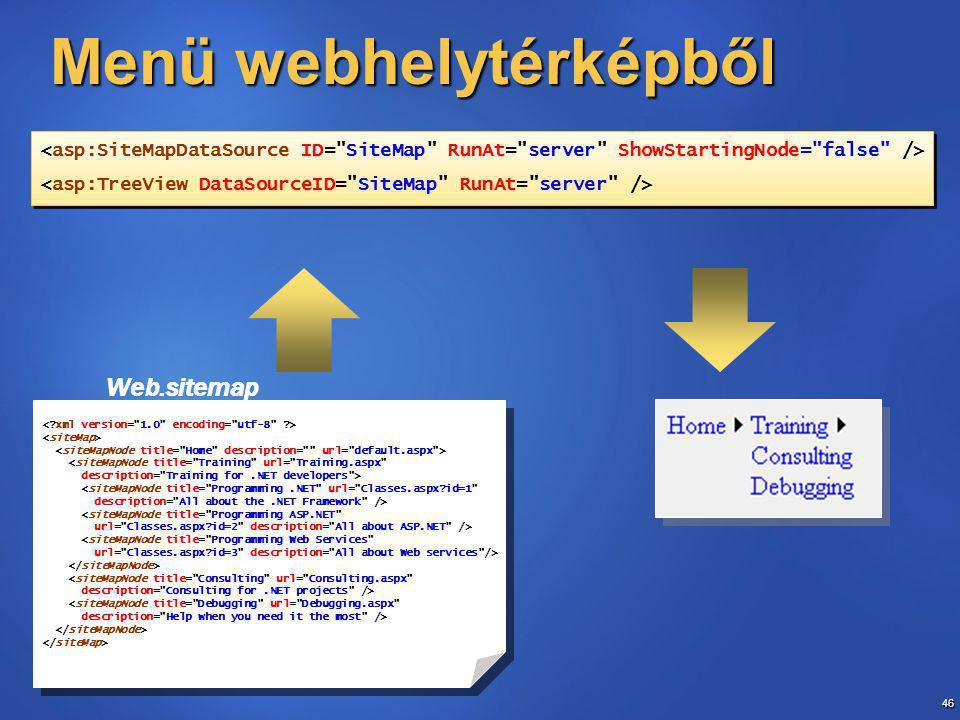 46 Menü webhelytérképből Web.sitemap <siteMapNode title= Training url= Training.aspx description= Training for.NET developers > <siteMapNode title= Programming.NET url= Classes.aspx?id=1 description= All about the.NET Framework /> <siteMapNode title= Programming ASP.NET url= Classes.aspx?id=2 description= All about ASP.NET /> <siteMapNode title= Programming Web Services url= Classes.aspx?id=3 description= All about Web services /> <siteMapNode title= Consulting url= Consulting.aspx description= Consulting for.NET projects /> <siteMapNode title= Debugging url= Debugging.aspx description= Help when you need it the most /> <siteMapNode title= Training url= Training.aspx description= Training for.NET developers > <siteMapNode title= Programming.NET url= Classes.aspx?id=1 description= All about the.NET Framework /> <siteMapNode title= Programming ASP.NET url= Classes.aspx?id=2 description= All about ASP.NET /> <siteMapNode title= Programming Web Services url= Classes.aspx?id=3 description= All about Web services /> <siteMapNode title= Consulting url= Consulting.aspx description= Consulting for.NET projects /> <siteMapNode title= Debugging url= Debugging.aspx description= Help when you need it the most />