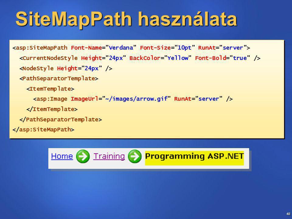 48 SiteMapPath használata