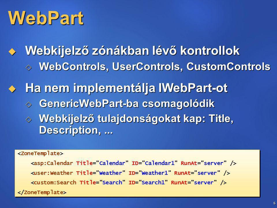 56 Lokalizációs erőforrások  Erőforrás fájlok  Lokális erőforrások  Minden form-nak saját erőforrásfájl minden támogatott nyelvhez  RESX fájlok az App_LocalResources mappában  Elnevezés:.aspx..resx.aspx.resx (alapértelmezett).aspx.resx (alapértelmezett)  Globális erőforrások  az egész alkalmazásban használható erőforrások  RESX fájlok a ~/App_GlobalResources mappában  Elnevezés:..resx.resx (alapértelmezett).resx (alapértelmezett)