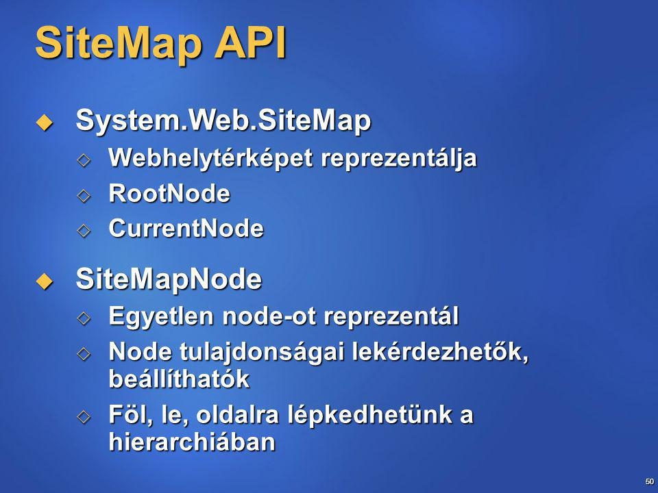 50 SiteMap API  System.Web.SiteMap  Webhelytérképet reprezentálja  RootNode  CurrentNode  SiteMapNode  Egyetlen node-ot reprezentál  Node tulajdonságai lekérdezhetők, beállíthatók  Föl, le, oldalra lépkedhetünk a hierarchiában
