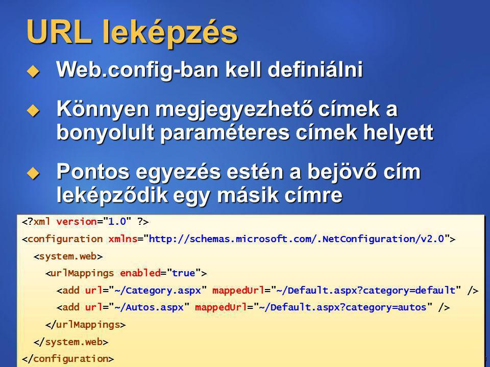 51 URL leképzés  Web.config-ban kell definiálni  Könnyen megjegyezhető címek a bonyolult paraméteres címek helyett  Pontos egyezés estén a bejövő cím leképződik egy másik címre