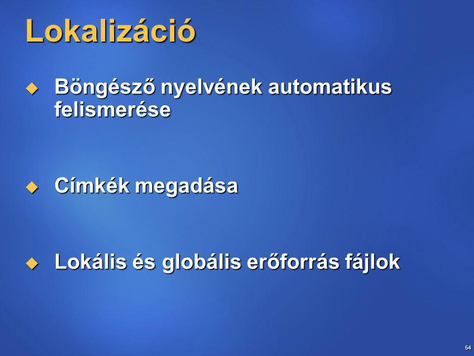54 Lokalizáció  Böngésző nyelvének automatikus felismerése  Címkék megadása  Lokális és globális erőforrás fájlok