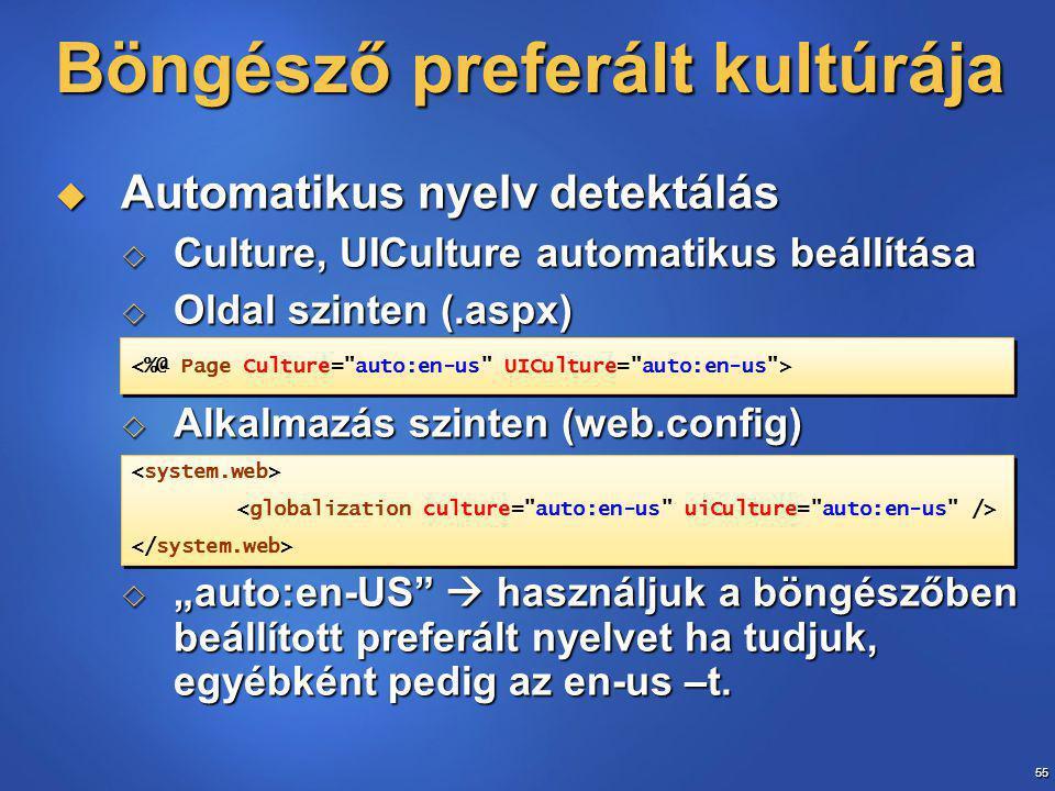 """55 Böngésző preferált kultúrája  Automatikus nyelv detektálás  Culture, UICulture automatikus beállítása  Oldal szinten (.aspx)  Alkalmazás szinten (web.config)  """"auto:en-US  használjuk a böngészőben beállított preferált nyelvet ha tudjuk, egyébként pedig az en-us –t."""