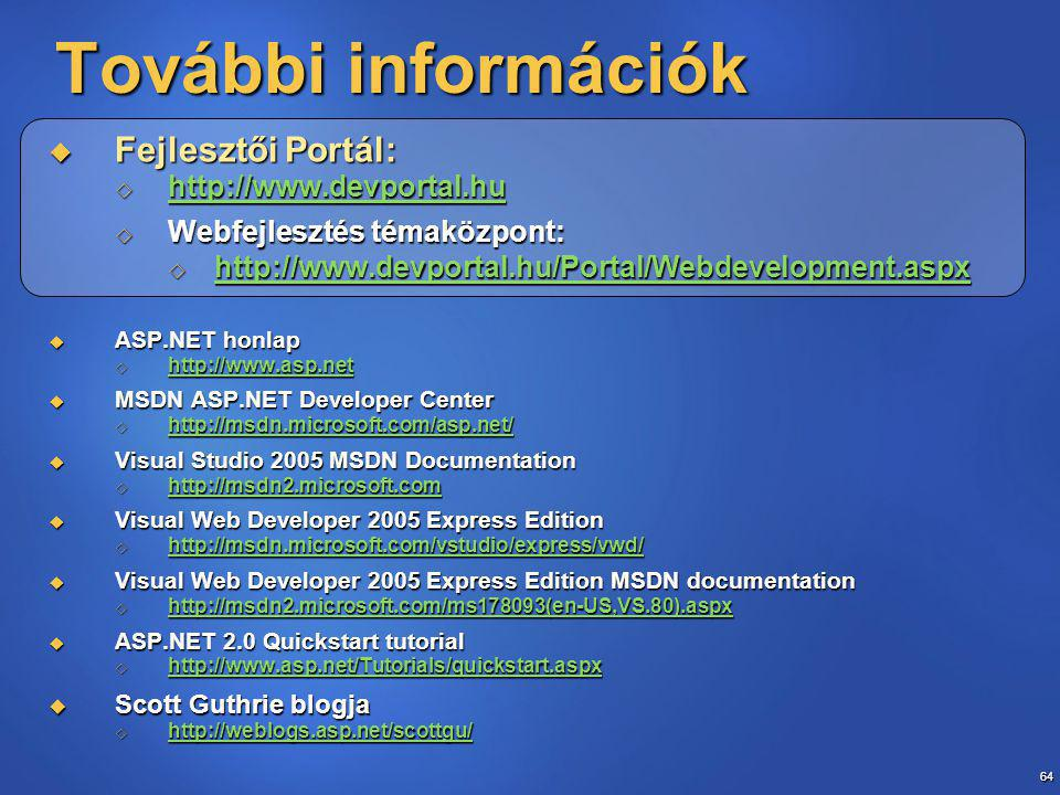 64 További információk  Fejlesztői Portál:       Webfejlesztés témaközpont:       ASP.NET honlap       MSDN ASP.NET Developer Center       Visual Studio 2005 MSDN Documentation       Visual Web Developer 2005 Express Edition       Visual Web Developer 2005 Express Edition MSDN documentation       ASP.NET 2.0 Quickstart tutorial       Scott Guthrie blogja 