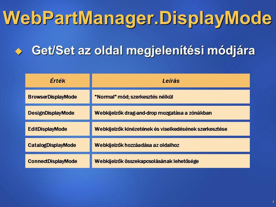 8 CatalogZone  CatalogZone  CatalogPart vezérlőket tartalmaz  Ezekből webkijelzőket tehetünk fel az oldalunkra  DeclarativeCatalogPart  Fejlesztő által definiált lista  PageCatalogPart  Bezárt webkijelzők listája  ImportCatalogPart  webkijelzőket importálhatunk fájlból