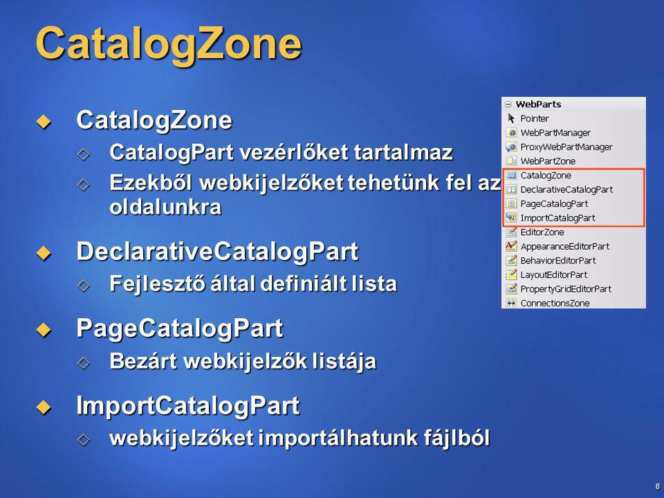 59 Implicit kifejezések  Részben vagy teljes egészében lokalizálni egy vezérlőelemet  Csak lokális erőforrásra alkalmazható  VisualStudio2005 automatikusan tudja generálni  meta:ResourceKey –ek a Page direktívába és a vezérlőkbe  App_LocalResources mappa és.apsx.resx fájl generálása