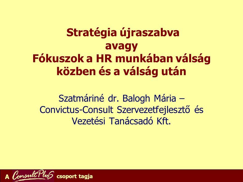 A csoport tagja Stratégia újraszabva avagy Fókuszok a HR munkában válság közben és a válság után Szatmáriné dr. Balogh Mária – Convictus-Consult Szerv