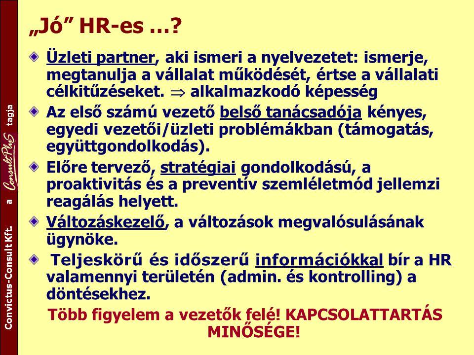 """A csoport tagja Convictus-Consult Kft. a tagja """"Jó"""" HR-es …? Üzleti partner, aki ismeri a nyelvezetet: ismerje, megtanulja a vállalat működését, értse"""