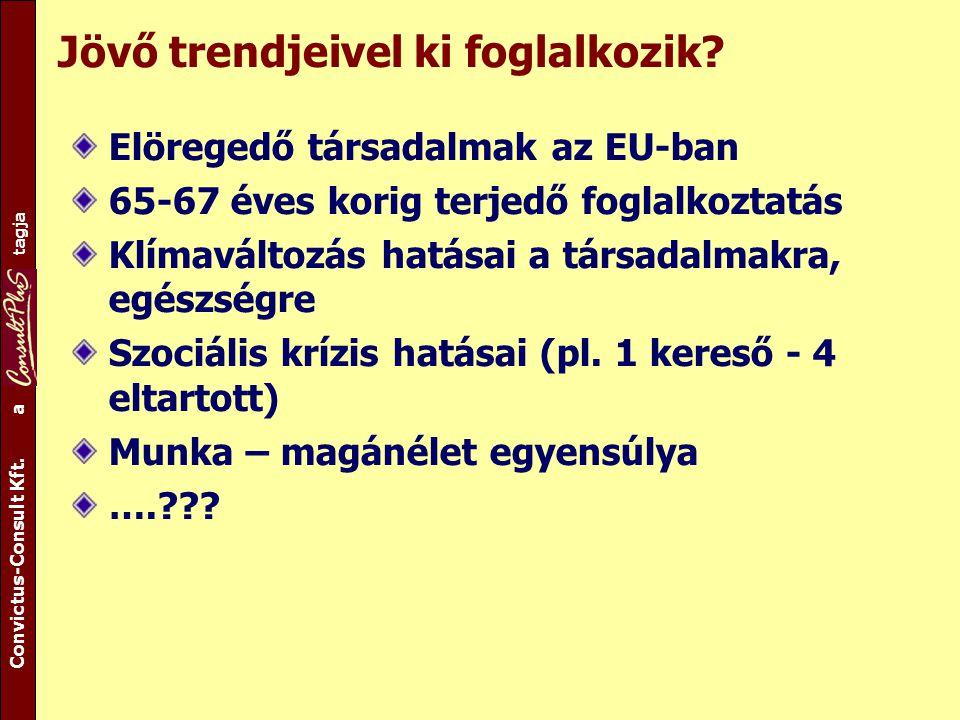 A csoport tagja Convictus-Consult Kft. a tagja Jövő trendjeivel ki foglalkozik? Elöregedő társadalmak az EU-ban 65-67 éves korig terjedő foglalkoztatá