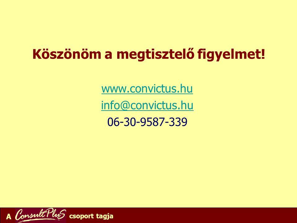 A csoport tagja Köszönöm a megtisztelő figyelmet! www.convictus.hu info@convictus.hu 06-30-9587-339