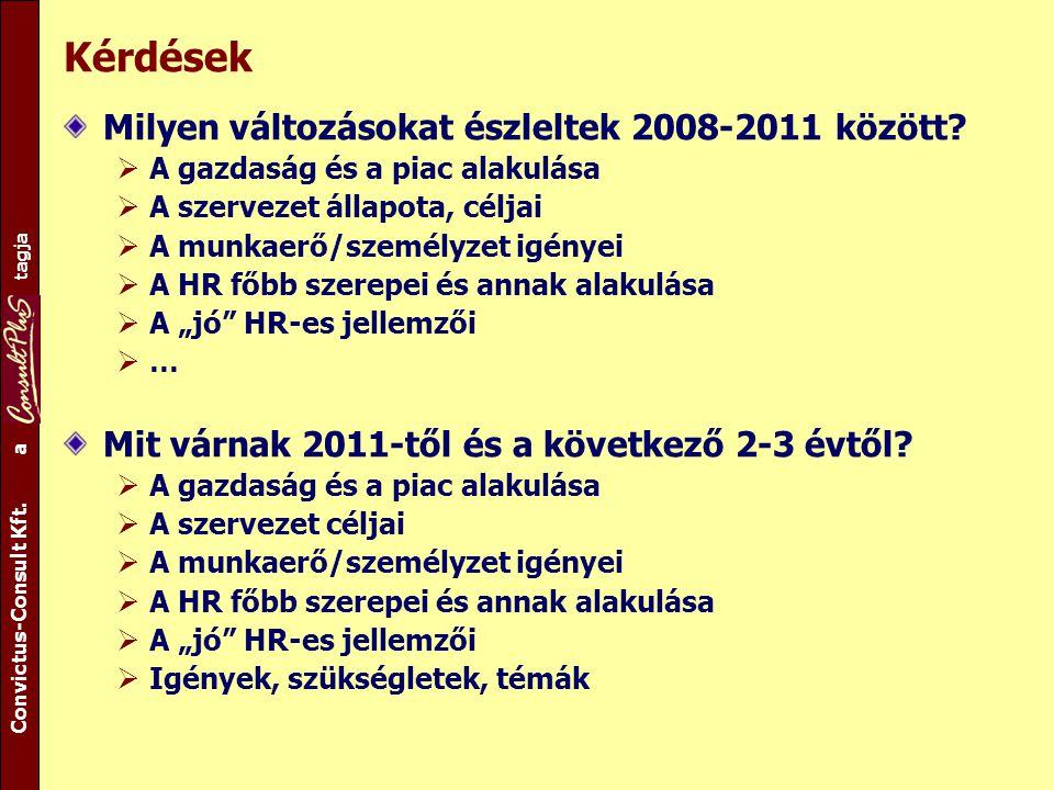 A csoport tagja Convictus-Consult Kft. a tagja Kérdések Milyen változásokat észleltek 2008-2011 között?  A gazdaság és a piac alakulása  A szervezet