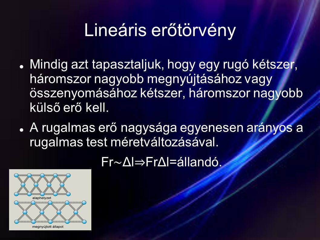 Lineáris erőtörvény  Mindig azt tapasztaljuk, hogy egy rugó kétszer, háromszor nagyobb megnyújtásához vagy összenyomásához kétszer, háromszor nagyobb