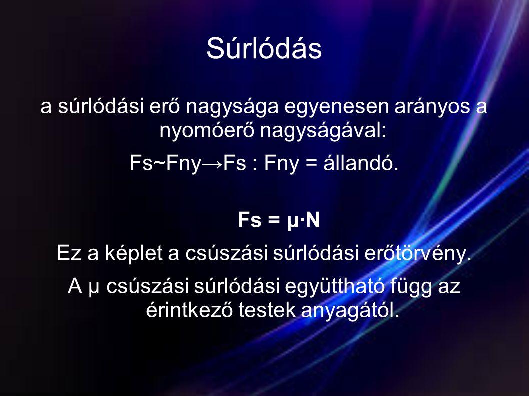 Súrlódás a súrlódási erő nagysága egyenesen arányos a nyomóerő nagyságával: Fs~Fny→Fs : Fny = állandó. Fs = μ·N Ez a képlet a csúszási súrlódási erőtö