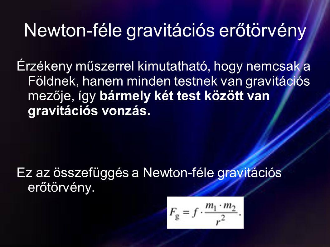 Newton-féle gravitációs erőtörvény Érzékeny műszerrel kimutatható, hogy nemcsak a Földnek, hanem minden testnek van gravitációs mezője, így bármely ké