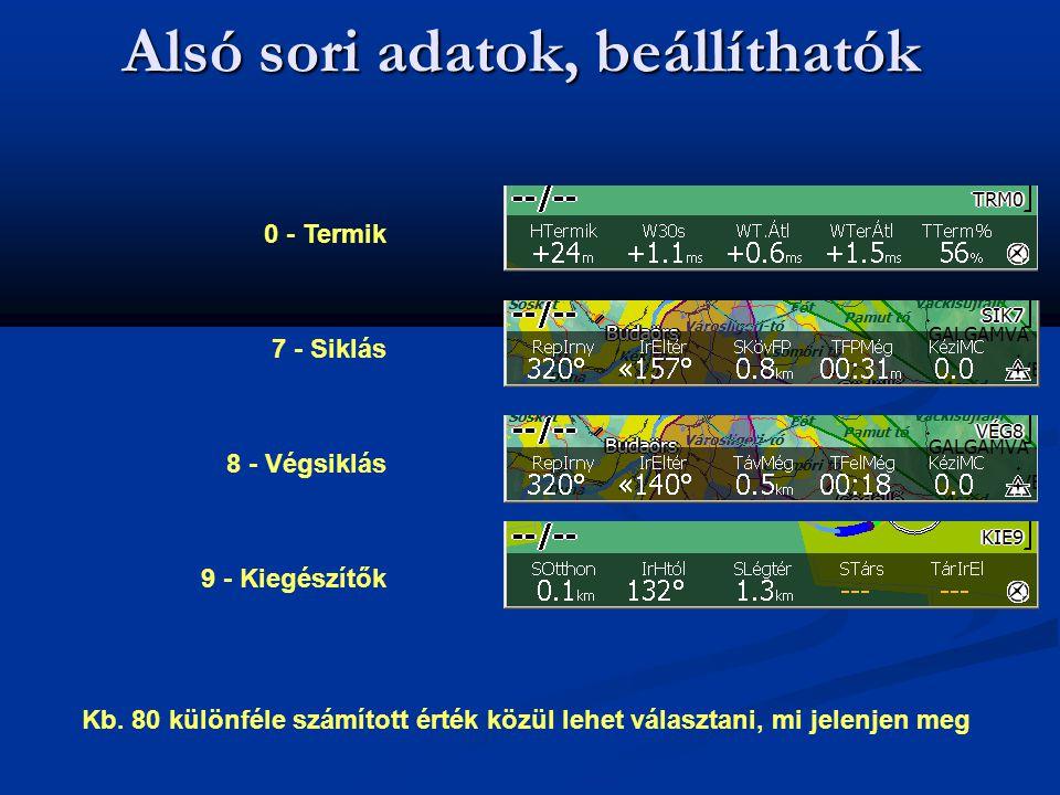 Alsó sori adatok, beállíthatók 0 - Termik 7 - Siklás 8 - Végsiklás 9 - Kiegészítők Kb. 80 különféle számított érték közül lehet választani, mi jelenje