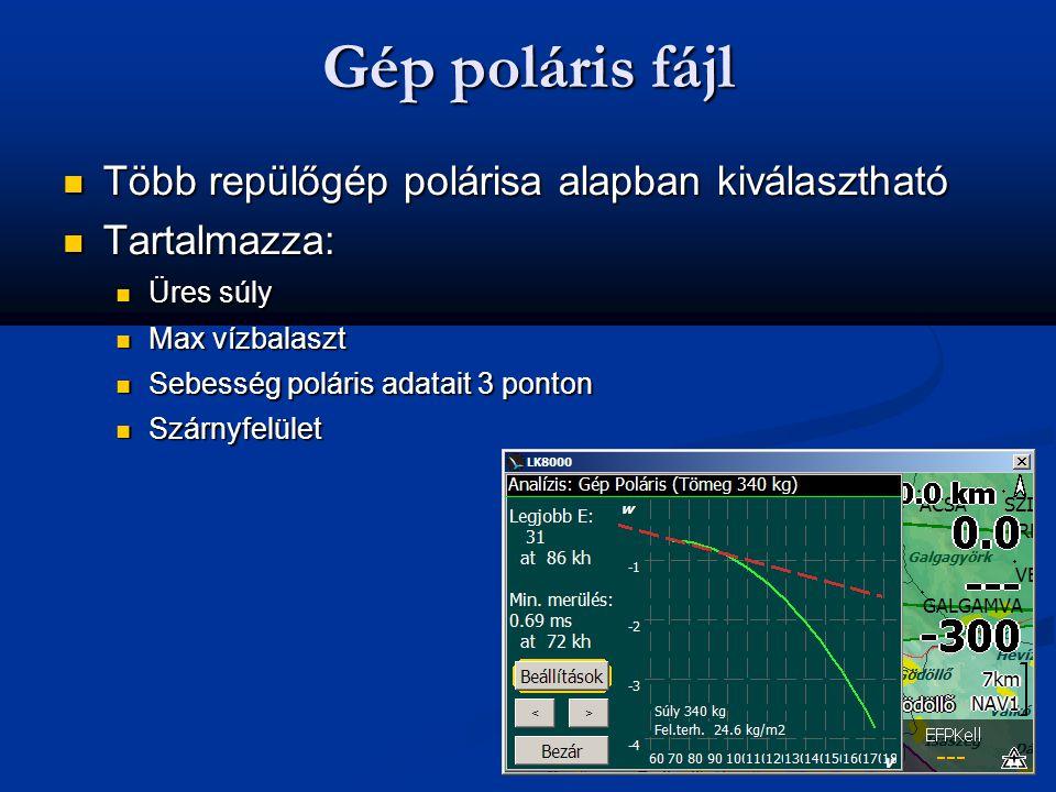 Gép poláris fájl  Több repülőgép polárisa alapban kiválasztható  Tartalmazza:  Üres súly  Max vízbalaszt  Sebesség poláris adatait 3 ponton  Szá