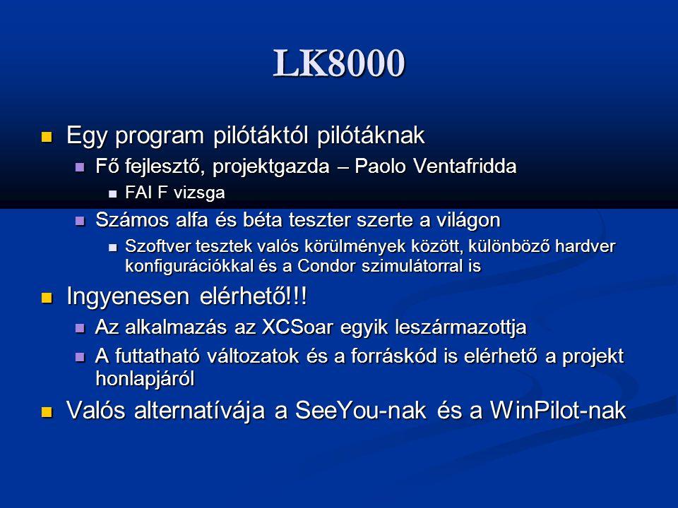 LK8000  Egy program pilótáktól pilótáknak  Fő fejlesztő, projektgazda – Paolo Ventafridda  FAI F vizsga  Számos alfa és béta teszter szerte a vilá