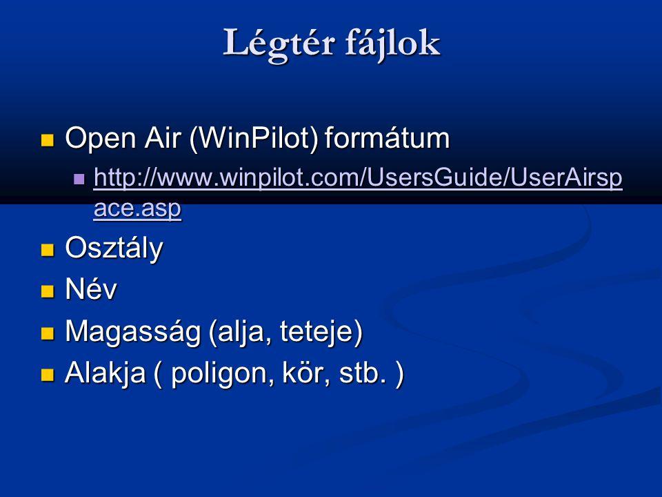 Légtér fájlok  Open Air (WinPilot) formátum  http://www.winpilot.com/UsersGuide/UserAirsp ace.asp http://www.winpilot.com/UsersGuide/UserAirsp ace.a