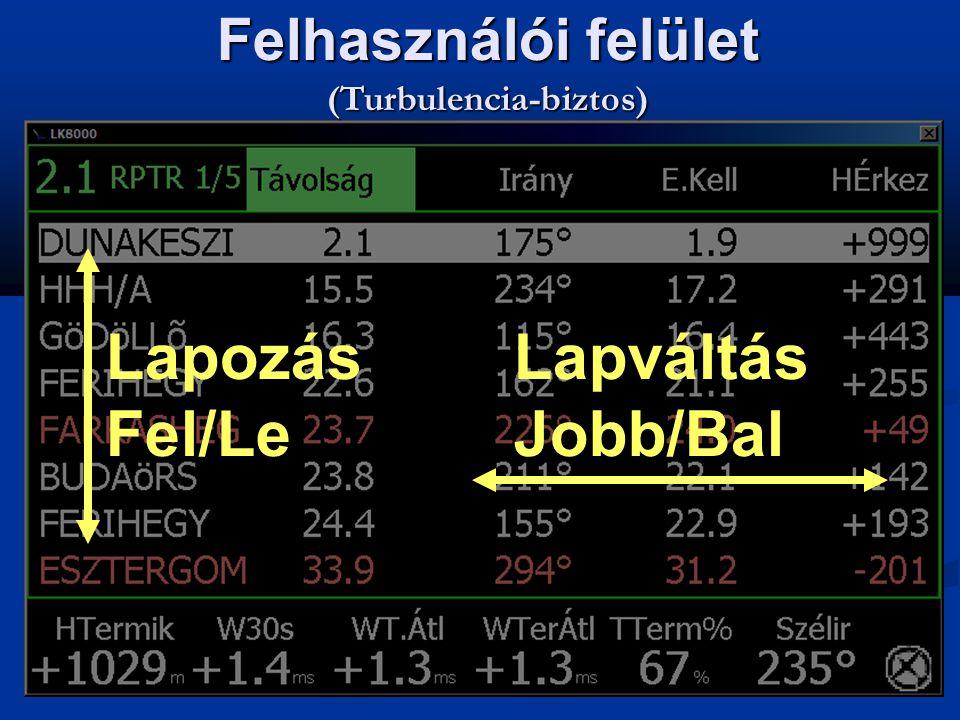 Lapozás Fel/Le Lapváltás Jobb/Bal Felhasználói felület (Turbulencia-biztos)