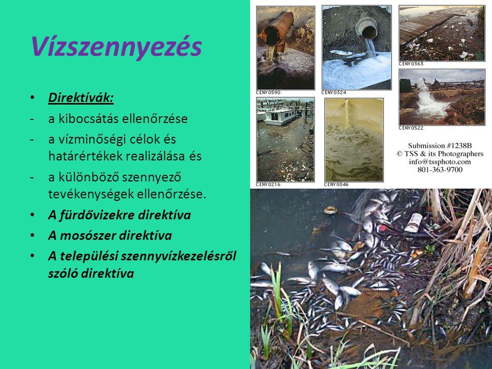 Vízszennyezés • Direktívák: -a kibocsátás ellenőrzése -a vízminőségi célok és határértékek realizálása és -a különböző szennyező tevékenységek ellenőrzése.