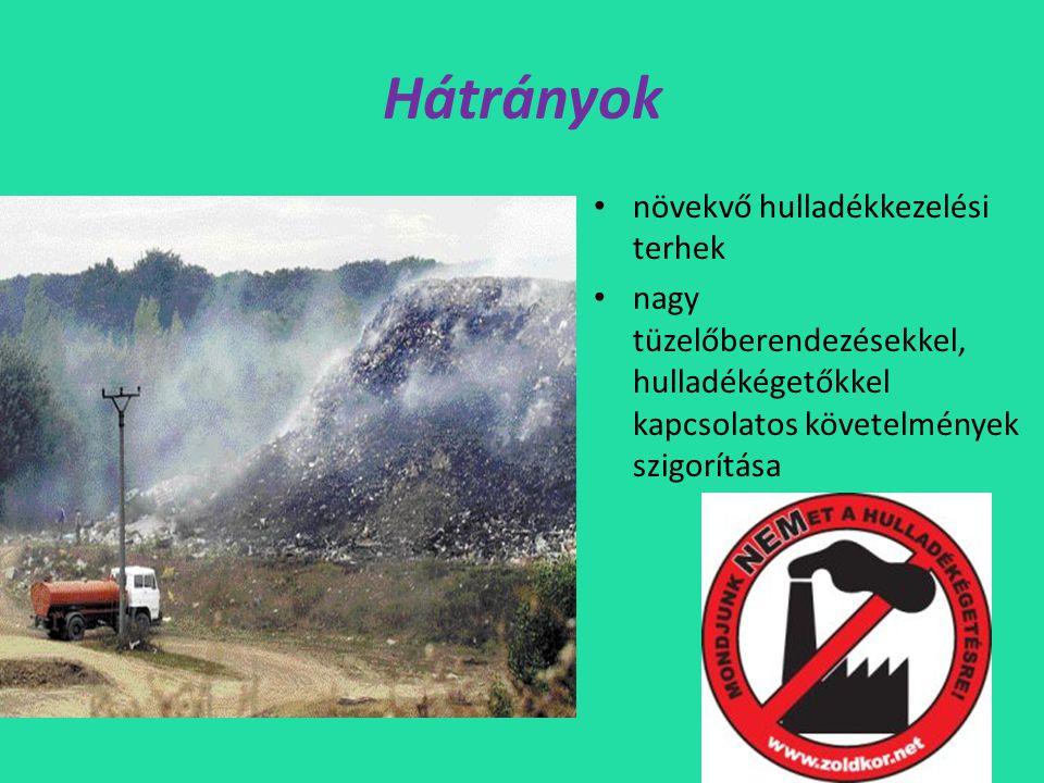 Hátrányok • növekvő hulladékkezelési terhek • nagy tüzelőberendezésekkel, hulladékégetőkkel kapcsolatos követelmények szigorítása
