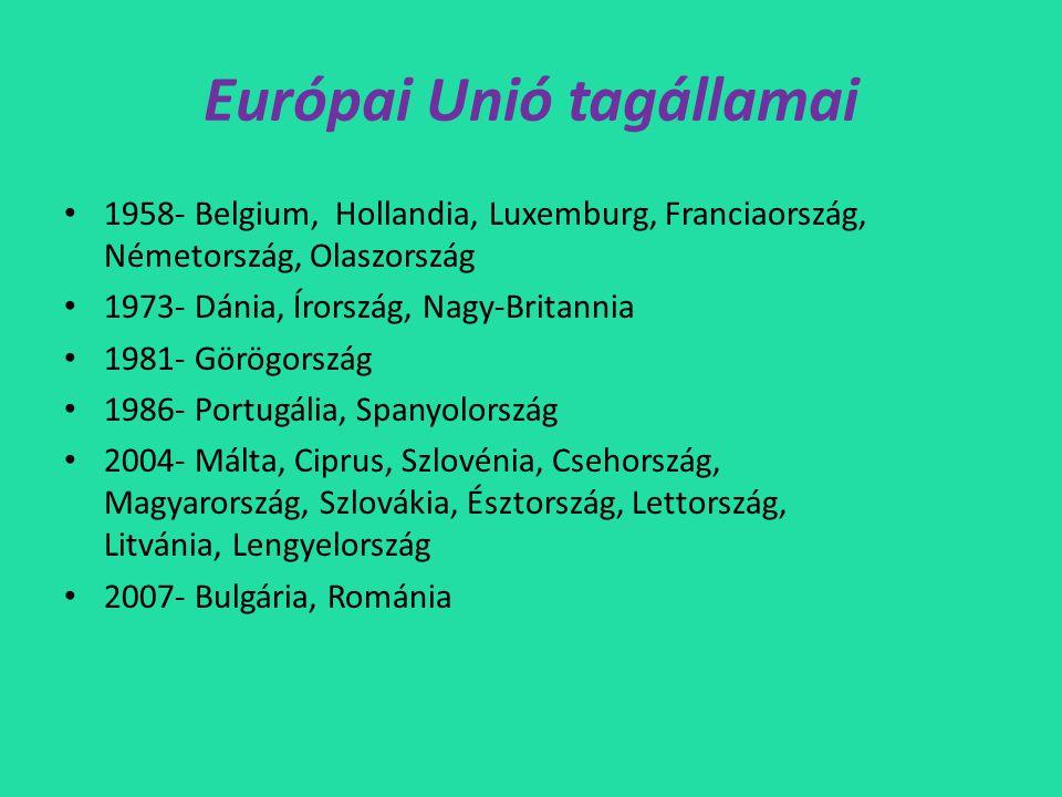 Európai Unió tagállamai • 1958- Belgium, Hollandia, Luxemburg, Franciaország, Németország, Olaszország • 1973- Dánia, Írország, Nagy-Britannia • 1981- Görögország • 1986- Portugália, Spanyolország • 2004- Málta, Ciprus, Szlovénia, Csehország, Magyarország, Szlovákia, Észtország, Lettország, Litvánia, Lengyelország • 2007- Bulgária, Románia