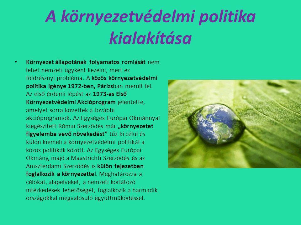 Környezetvédelmi politika céljai • Öko-címkézés: környezetbarát címke (bizonyos szakmai kritériumoknak meg felelniük) • LIFE-program: az EU környezetvédelmi célokat szolgáló pénzügyi eszköze