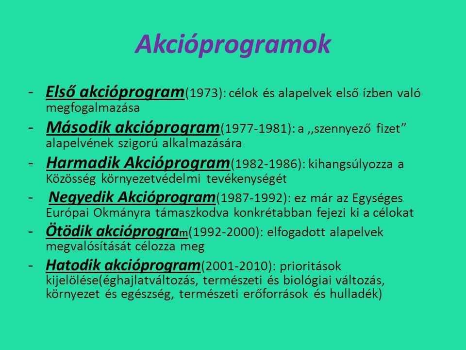 Akcióprogramok -Első akcióprogram (1973): célok és alapelvek első ízben való megfogalmazása - Második akcióprogram (1977-1981): a,,szennyező fizet alapelvének szigorú alkalmazására - Harmadik Akcióprogram (1982-1986): kihangsúlyozza a Közösség környezetvédelmi tevékenységé t - Negyedik Akcióprogram (1987-1992): ez már az Egységes Európai Okmányra támaszkodva konkrétabban fejezi ki a célokat -Ötödik akcióprogra m (1992-2000): elfogadott alapelvek megvalósítását célozza meg -Hatodik akcióprogram (2001-2010): prioritások kijelölése(éghajlatváltozás, természeti és biológiai változás, környezet és egészség, természeti erőforrások és hulladék)