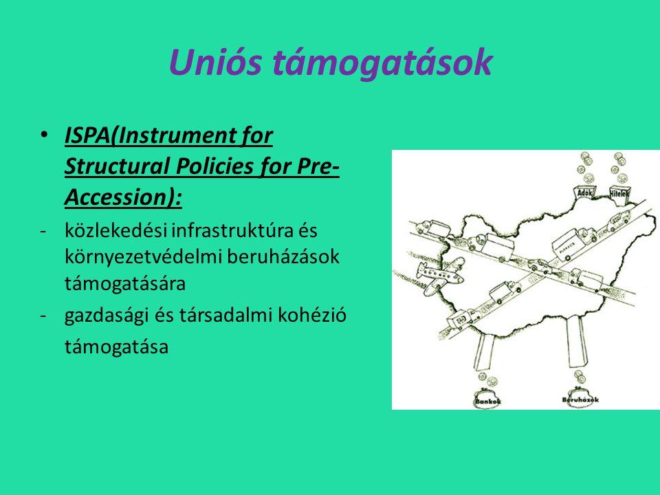 Uniós támogatások • ISPA(Instrument for Structural Policies for Pre- Accession): -közlekedési infrastruktúra és környezetvédelmi beruházások támogatására -gazdasági és társadalmi kohézió támogatása