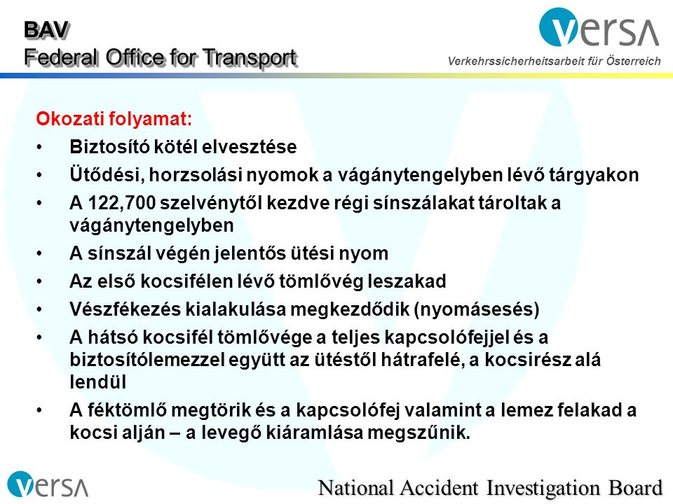 BAV Federal Office for Transport National Accident Investigation Board Verkehrssicherheitsarbeit für Österreich Okozati folyamat: •Biztosító kötél elv