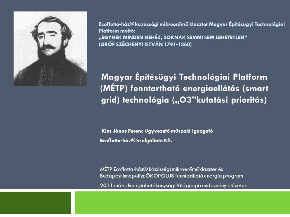 Mottó: MERJÜNK NAGYOK LENNI (SZÉCHENYI)  MÉTP O3 K+F prioritás, klaszter, Living Lab menedzsment és Ecoflotta-ház Kft.