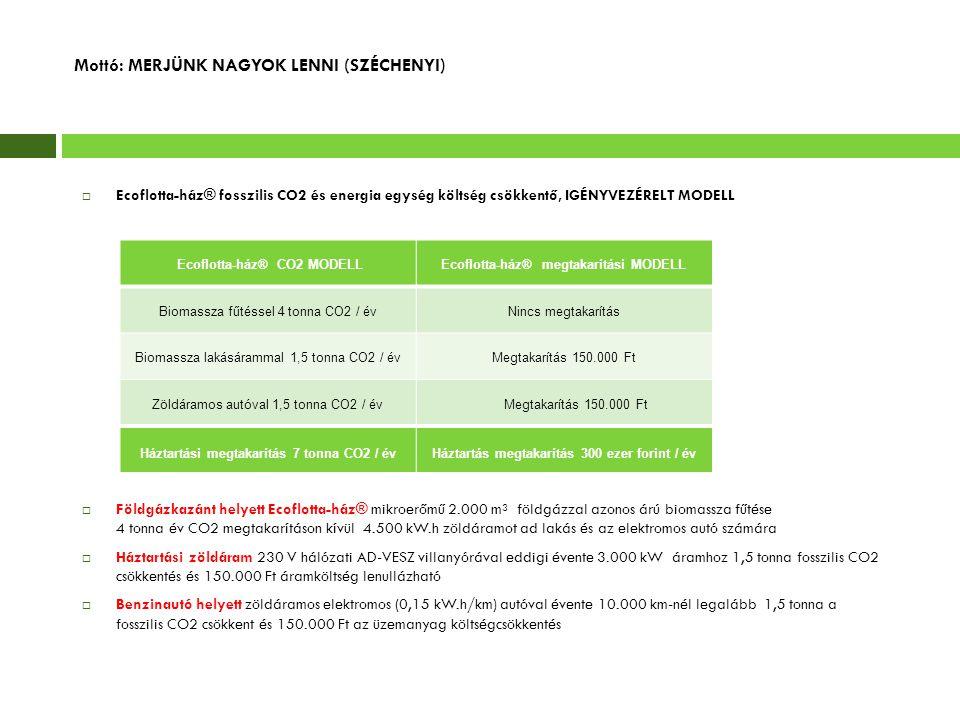 Mottó: MERJÜNK NAGYOK LENNI (SZÉCHENYI)  Ecoflotta-ház® fosszilis CO2 és energia egység költség csökkentő, IGÉNYVEZÉRELT MODELL  Földgázkazánt helye