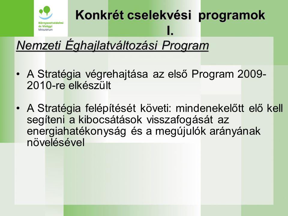 Konkrét cselekvési programok I. Nemzeti Éghajlatváltozási Program •A Stratégia végrehajtása az első Program 2009- 2010-re elkészült •A Stratégia felép