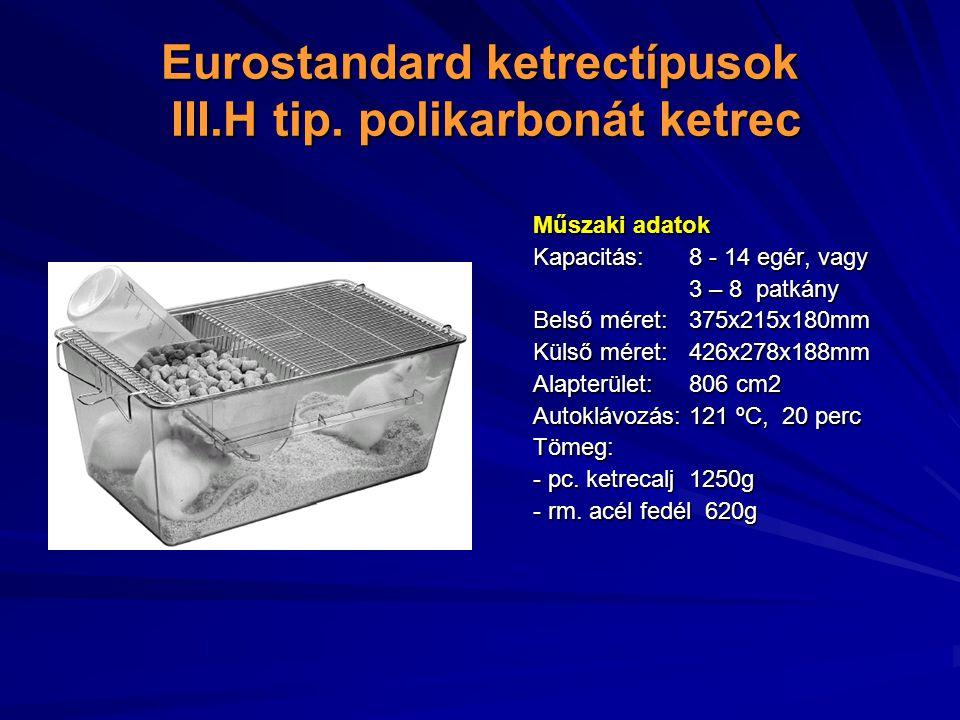 Eurostandard ketrectípusok III.H tip.
