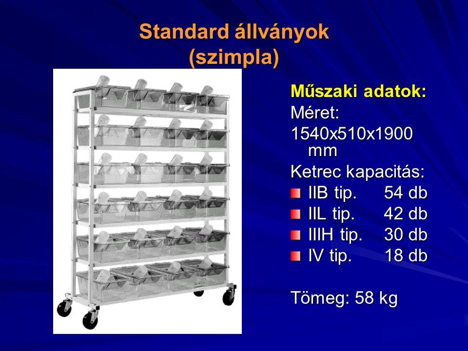 Standard állványok (szimpla) Műszaki adatok: Méret: 1540x510x1900 mm Ketrec kapacitás: IIB tip.54 db IIL tip.
