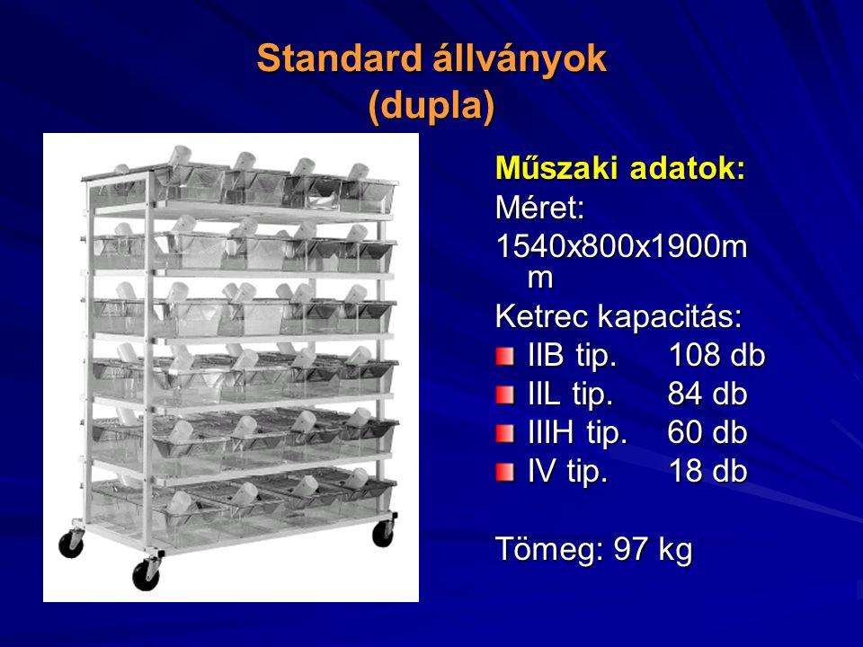 Standard állványok (dupla) Műszaki adatok: Méret: 1540x800x1900m m Ketrec kapacitás: IIB tip.108 db IIL tip.