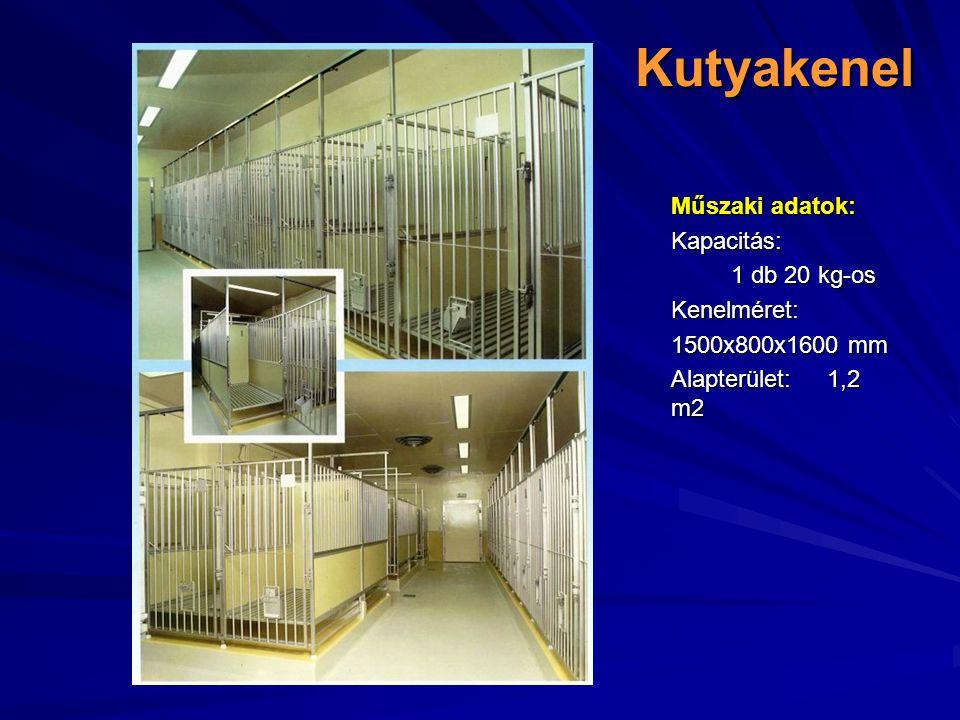 Kutyakenel Műszaki adatok: Kapacitás: 1 db 20 kg-os Kenelméret: 1500x800x1600 mm Alapterület:1,2 m2