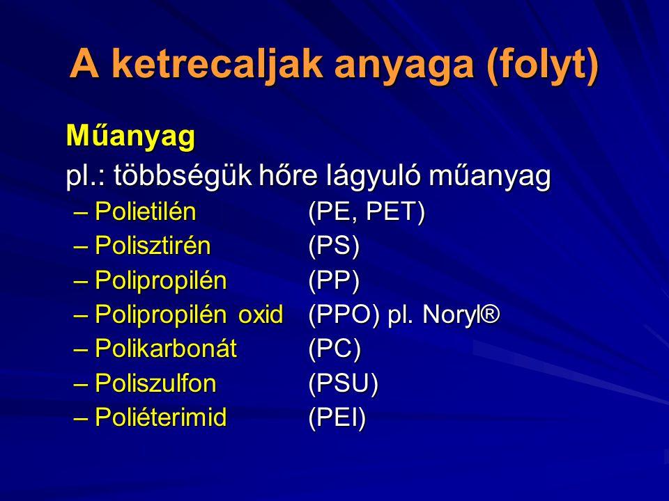 A ketrecaljak anyaga (folyt) Műanyag pl.: többségük hőre lágyuló műanyag –Polietilén(PE, PET) –Polisztirén (PS) –Polipropilén (PP) –Polipropilén oxid(PPO) pl.