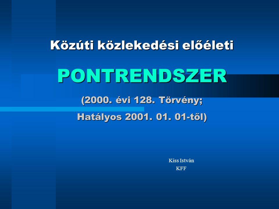 Közúti közlekedési előéleti PONTRENDSZER (2000. évi 128. Törvény; Hatályos 2001. 01. 01-től) Kiss István KFF