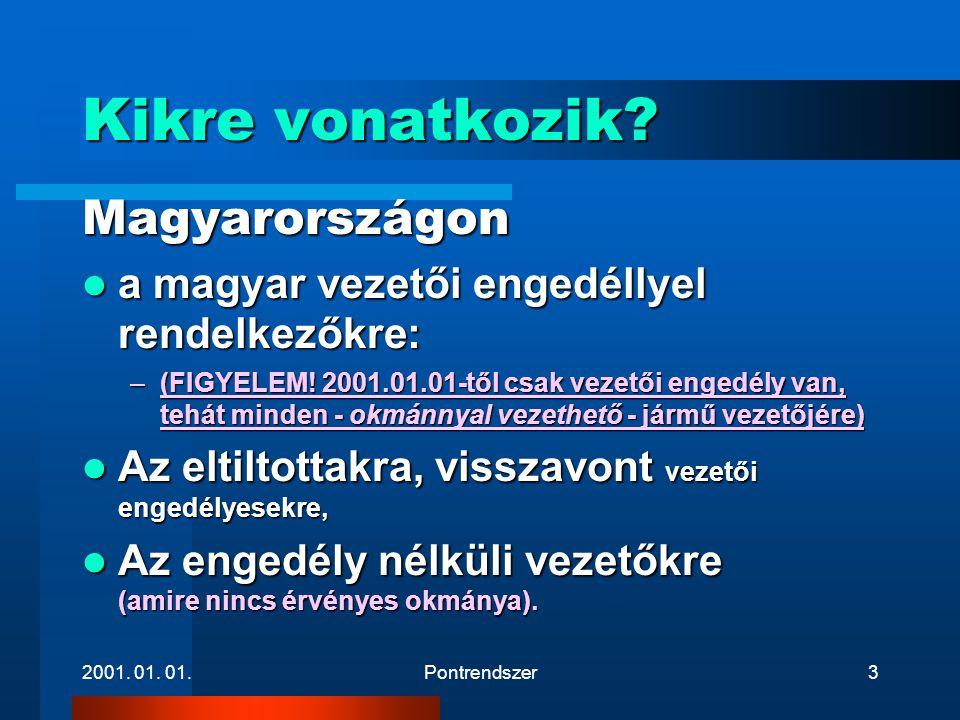 2001. 01. 01.Pontrendszer3 Kikre vonatkozik? Magyarországon  a magyar vezetői engedéllyel rendelkezőkre: –(FIGYELEM! 2001.01.01-től csak vezetői enge