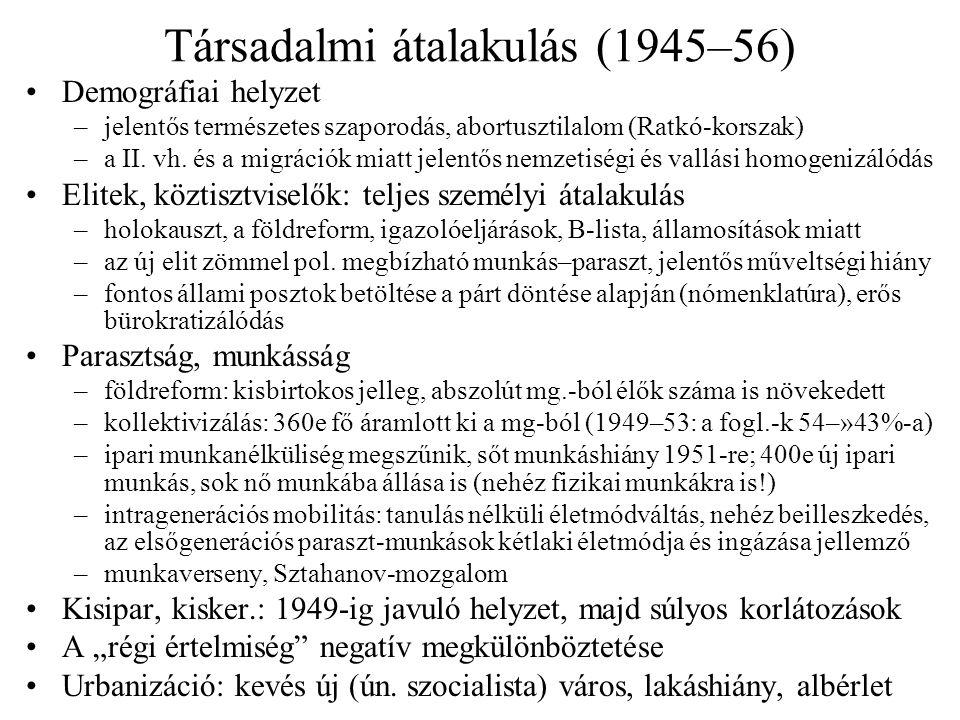Társadalmi átalakulás (1945–56) •Demográfiai helyzet –jelentős természetes szaporodás, abortusztilalom (Ratkó-korszak) –a II. vh. és a migrációk miatt
