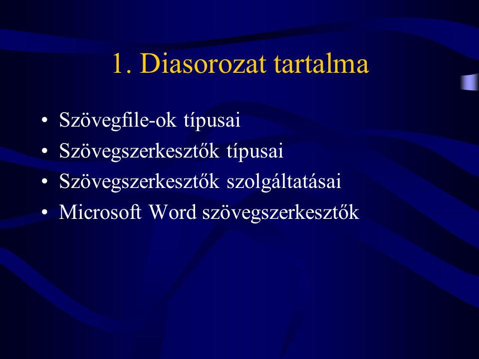 Szövegfile-ok típusai •Formázatlan (ASCII file) –Text editorral megjeleníthető –CR, CR+LF, FF –Formátumleírás nincs •Formázott –Binárisan kódolt (pl.